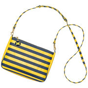 Lillybee University of Michigan Navy and Yellow Striped Crossed Body Bag