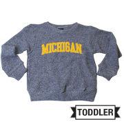 Little King University of Michigan Toddler Heather Navy Twist Crewneck Sweatshirt