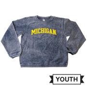 Little King University of Michigan Youth Heather Navy Cotton Corduroy Crewneck Sweatshirt
