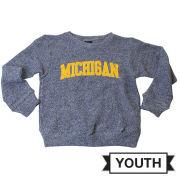 Little King University of Michigan Youth Heather Navy Twist Crewneck Sweatshirt