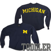 Little King University of Michigan Toddler Girls Navy Long Sleeve Fan Jersey