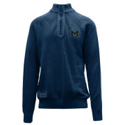 Salute University of Michigan Navy Quail Pebble Knit 1/4 Zip Sweater