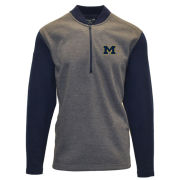 Levelwear University of Michigan Heather Charcoal Gray/ Navy Color Block 1/2 Zip Pullover