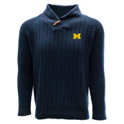 Salute University of Michigan Navy Heritage Button Neck Shawl Collar Sweater