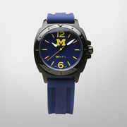 HAIL Brand University of Michigan Go Blue Black Case Watch w/ Silicone Band