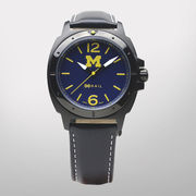HAIL University of Michigan Special Teams Black Case Watch w/ Leather Band