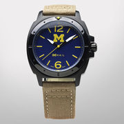 HAIL University of Michigan Black Case Watch with Khaki Band