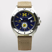 HAIL University of Michigan Stainless Steel Case Watch with Khaki Band