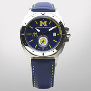 HAIL University of Michigan Maize and Blue Steel Case Watch w/ Leather Band