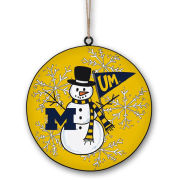 Magnolia Lane University of Michigan Metal Snowman Ornament
