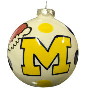 Magnolia Lane University of Michigan Pottery Christmas Bulb Ornament