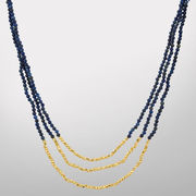 HAIL Brand University of Michigan Three Strand Blue Lapis and Pyrite Necklace