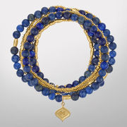 HAIL Brand University of Michigan Lapis & 24K GP Silver Layered Bracelets