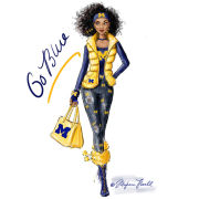 Meghann Powell Illustrations University of Michigan ''Go Blue Girl'' Print