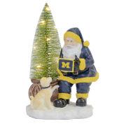 Memory Company University of Michigan Santa with LED Tree Figurine