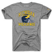 The Mitten State University of Michigan Football Heather Gray 1990 Football Graphic Tri-blend Tee