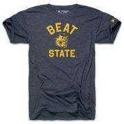 The Mitten State University of Michigan Heather Navy ''Beat State'' College Vault Wolverine Tri-blend Tee