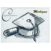 Fanatic Cards University of Michigan Graduation Congrats Grad! Cap and Diploma Greeting Card