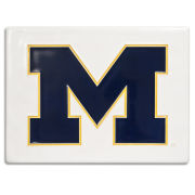 Motawi Tileworks University of Michigan 6 x 8 White with Navy Block ''M'' Tile