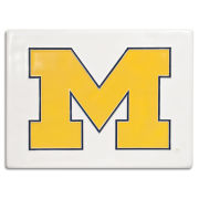 Motawi Tileworks University of Michigan 6 x 8 White with Yellow Block ''M'' Tile