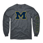New Agenda University of Michigan Heather Gray Long Sleeve 'M' Go Blue Tee