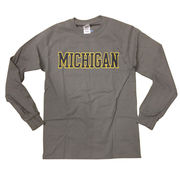 New Agenda University of Michigan Charcoal Gray Long Sleeve Basic Tee