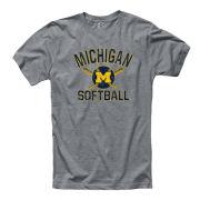 University of Michigan Softball Gray Ringspun Tee