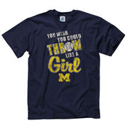 New Agenda University of Michigan Softball Navy Throw Like a Girl Tee