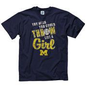 University of Michigan Softball Navy ''Throw Like a Girl'' Tee