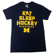 New Agenda University of Michigan Hockey Eat, Sleep, Hockey Navy Tee