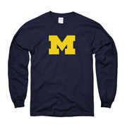New Agenda University of Michigan Block 'M' Navy Long Sleeve Tee