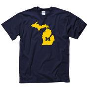 University of Michigan Navy State of Michigan Tee