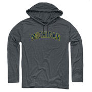 New Agenda University of Michigan Dark Heather Gray Long Sleeve Hooded Tee