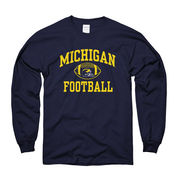 University of Michigan Football Navy Long Sleeve Tee