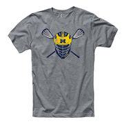 University of Michigan Lacrosse Heather Gray Helmet Tee