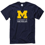New Agenda University of Michigan Signature Mark Navy Tee
