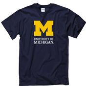 University of Michigan Signature Mark Navy Tee