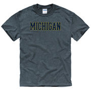 University of Michigan Dark Heather Blue Basic Tee
