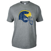 University of Michigan Football Gray Distressed Helmet Tee