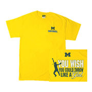 University of Michigan Softball Youth ''Throw Like A Girl'' Tee