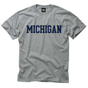 University of Michigan Tee Shirt by New Agenda in Oxford Gray and Navy
