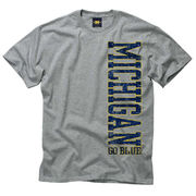 Oxford Gray University of Michigan T Shirt w/ Maize-and-Blue Vertical Lettering