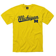 University of Michigan Yellow Script Tee