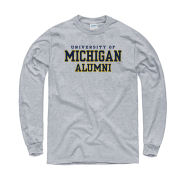 New Agenda University of Michigan Alumni Oxford Gray Long Sleeve Tee