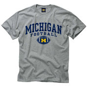 New Agenda Michigan Wolverines Football Oxford Gray Michigan Football Graphic Tee