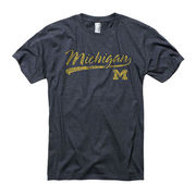 New Agenda University of Michigan Heather Navy Tail Script Ringspun Tee