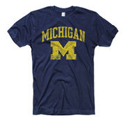University of Michigan Navy Distressed ''M'' Tee