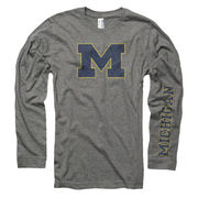 New Agenda University of Michigan Ox Gray Long Sleeve Two Color Michigan Tee