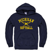 New Agenda University of Michigan Softball Navy Hooded Sweatshirt