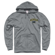New Agenda University of Michigan Heather Gray Full Zip Hooded Sweatshirt